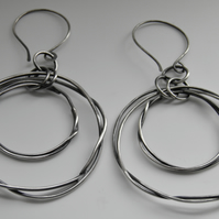 Large Sterling Silver Earrings Handcrafted Organic Hoops Oxidised Circle Design