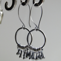 Handcrafted Sterling Silver Dangle Earrings Circle Hoop Design Oxidised Silver