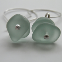 Aqua Sea Glass Earrings Handcrafted with Sterling Silver