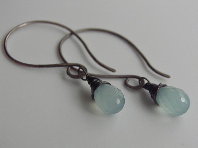 Aqua Chalcedony Gemstone Earrings, Oxidised Sterling Silver Earrings