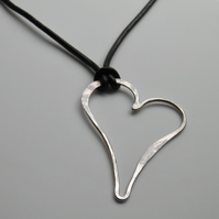 Large Sterling Silver Necklace on Leather, Heart Necklace Handcrafted