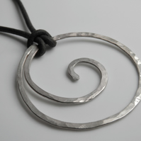 Sterling Silver Necklace on Leather Large Silver Spiral Statement Piece