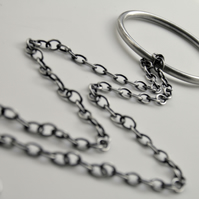 Large Oxidised Sterling Silver Circle Necklace