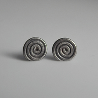 Small Sterling Silver Spiral Post Earrings
