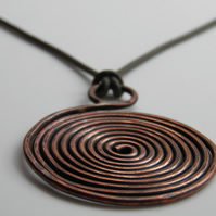 Copper Spiral Necklace on Leather Large Handcrafted Statement