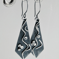 Sterling Silver Earrings Handcrafted Long