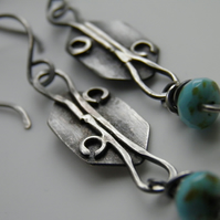 Turquoise Earrings Oxidised Sterling Silver Earrings