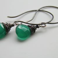 Emerald Green Onyx Gemstone Earrings, Sterling Silver Earrings