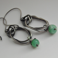 Chrysoprase Sterling Silver Earrings Green Gemstone Oxidised Silver Hoops