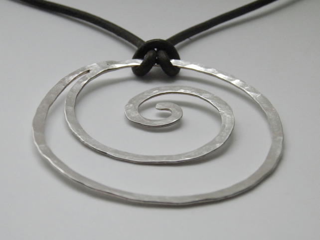 Large Statement Sterling Silver Spiral Necklace on Leather