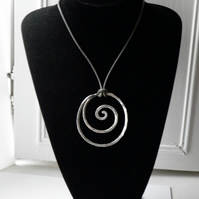 Sterling Silver Necklace Large Spiral on Leather