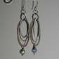 Labradorite Sterling Silver, Oxidised Hoop Earrings