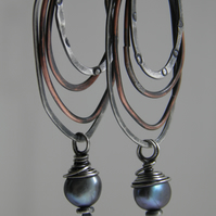Pearl Earrings, Sterling Silver Earrings Mixed Metal Hoops Black Tahitian Pearls