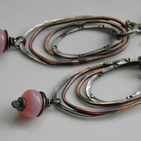 Pink Opal Earrings Sterling Silver & Copper