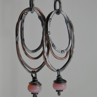 Opal Earrings Sterling Silver Earrings Pink Peruvian Opal mixed Metal Hoops