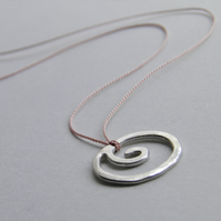 Sterling Silver Necklace Small Spiral Necklace Minimal