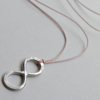 Sterling Silver Infinity Pendant Minimal Necklace on Silk Thread