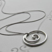 Sterling Silver Necklace Handcrafted Minimal Silver Spiral Necklace, Silk Thread