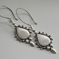 Silver Earrings, Oxidised Balinese Intricate Design Greek Silver Cast