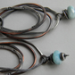 Larimar Gemstone Earrings Sterling Silver Earrings Oxidised Copper Hoops