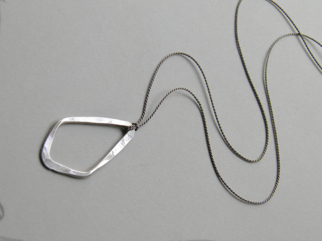 Sterling Silver Necklace Minimal Necklace on Silk, Sterling Silver Pendant