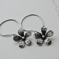 Flower Earrings Sterling Silver Earrings Silver Flower Earrings