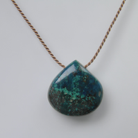 Chrysocolla Necklace on Silk Thread Minimalist Chrysocolla Gemstone Necklace