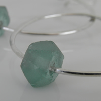 Recycled Glass Earrings Large Sterling Silver Hoops