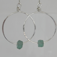 Large Sterling Silver Hoops Recycled Glass