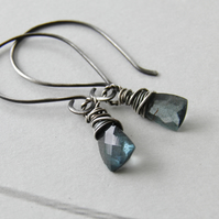 Moss Aquamarine Gemstone Earrings, Oxidised Sterling Silver Earrings