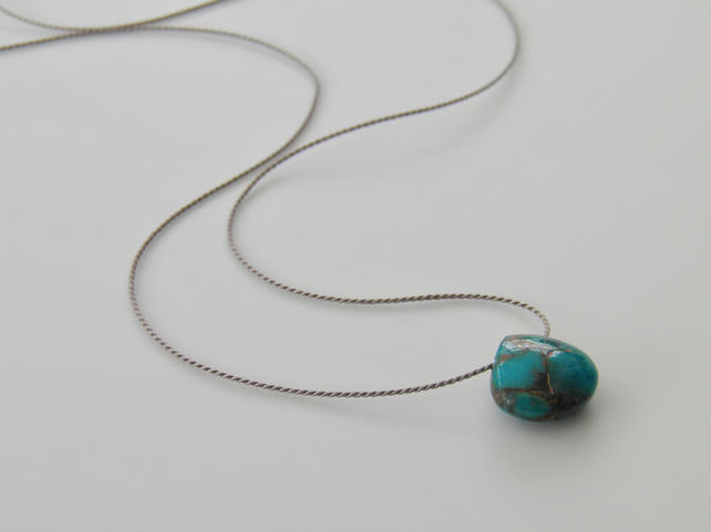 Mohave Turquoise Necklace on Silk Thread Minimalist Gemstone Necklace