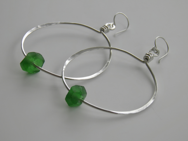 Green Earrings Sterling Silver Hoops Recycled Glass Beads