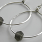 Grey Earrings Sterling Silver Hoops Recycled Glass Beads