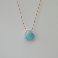 Larimar Necklace on Silk Gemstone Necklace