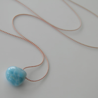 Larimar Necklace on Silk