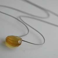 Golden Yellow Chalcedony Gemstone Necklace