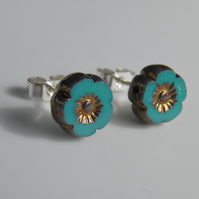 Turquoise Teal & Gold Flower Post Earrings