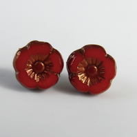 Red Poppy Earrings Post Earrings