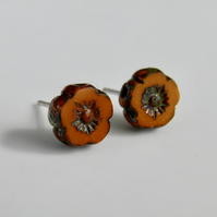 Orange Autumn Spice Flower Post Earrings
