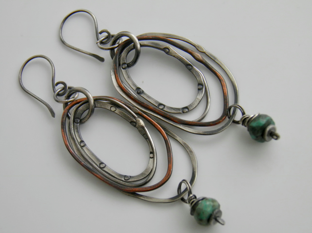 Turquoise Earrings Sterling Silver Earrings Gemstone Earrings