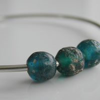 Sterling Silver Bangle Recycled Glass Beads in Teal Green