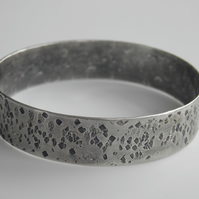 Sterling Silver Bangle, Wide Heavy Hammered Rustic Design