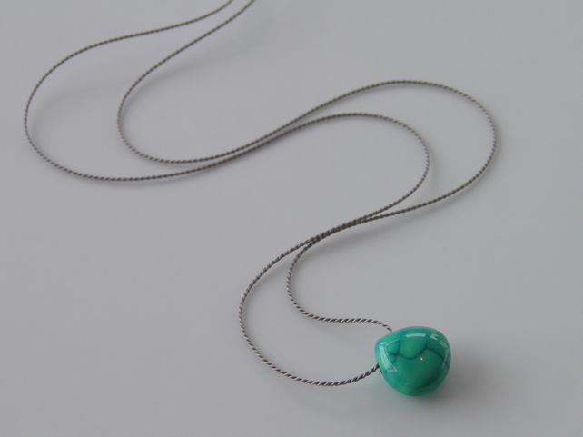 Tibetan Turquoise Gemstone Necklace on Silk