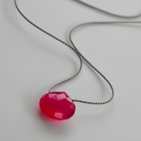 Gemstone on Silk Hot Pink Chalcedony Necklace