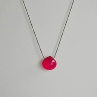 Hot Pink Chalcedony Gemstone Necklace on Silk