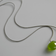 Vesuvianite Green Chalcedony Gemstone Silk Necklace