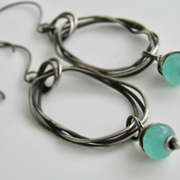 Chalcedony Handcrafted Earrings Sterling Silver, Oxidised Hoop Aqua Blue