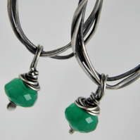 Emerald Green Onyx Handcrafted Earrings Sterling Silver, Oxidised Hoop