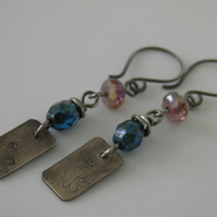 Flower Earrings Teal & Pink Oxidised