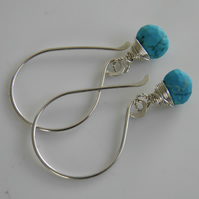 Turquoise Gemstone Earrings Sterling Silver